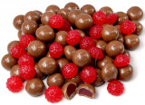 Milk chocolate covered raspberries