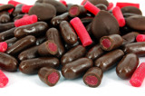 Dark chocolate covered raspberry bullets