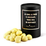 125g White Chocolate Raspberries - Black Cylinder