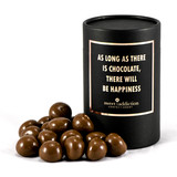 Milk chocolate covered raspberries black cylinder gift box