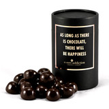 Dark chocolate covered raspberries Black Cylinder Gift box