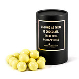 White chocolate malt balls black cylinder gift box