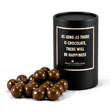 Milk chocolate malt balls black cylinder gift box