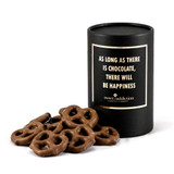 Milk chocolate pretzels black cylinder gift box