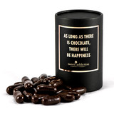 Dark chocolate covered licorice bullets black cylinder gift box