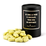 White chocolate covered licorice bullets black cylinder gift box