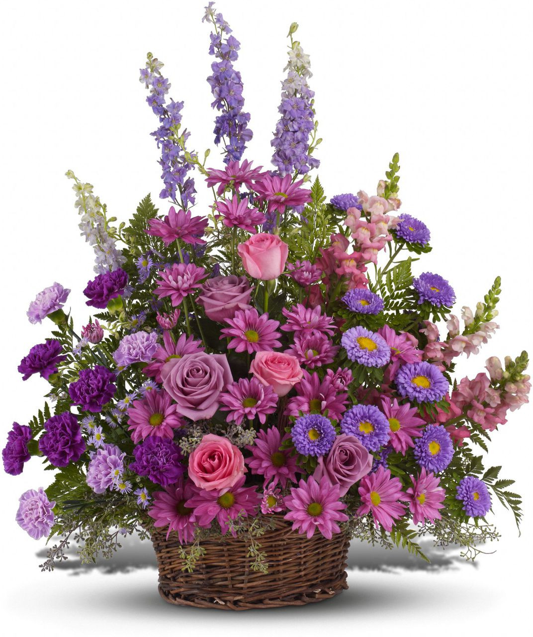 Gracious Love Purple Funeral Basket Free Flower Delivery