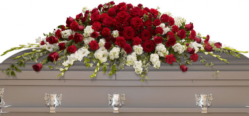 Grandeur Red Rose & White Flower Casket Cover from Sympathy Flower Shop. Over three dozen red roses, red spray roses and red carnations along with graceful white gladiolias and white stock are arranged beautifully with assorted greeneries.  SKU SYM812