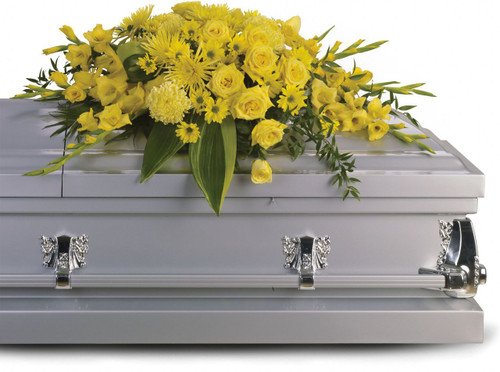 Graceful Yellow Rose & Gladiola Casket Cover Spray from Sympathy Flower Shop. This bright casket cover includes yellow blossoms such as roses, gladioli, chrysanthemums and accented with green foliages. SKU SYM817