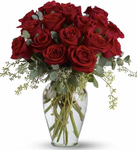 Full of Love Sympathy Arrangement by Sympathy Flower Shop. You can pay tribute with this incredible arrangement of red roses and eucalyptus in a beautiful ming vase. SKU SYM428
