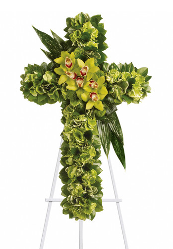 "Heavenly Comfort Green Orchid Funeral Flower Cross from Sympathy Flower Shop. This funeral spray includes green hydrangeas along with a dazzling mix of exotic green orchids and other flowers and leaves to create a beautiful and textured cross, delivered on an easel. Approximately 22"" W x 34"" H   SKU SYM304"