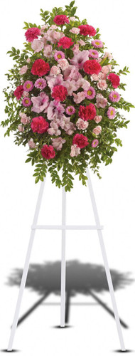 Perfectly Pink Tribute Standing Spray from Sympathy Flower Shop. A mixture of splendid pink, hot pink and light pink flowers such as alstroemeria, gladioli, carnations, asters and more create a display that is warm and loving for you loved one. Delivered on a wire funeral easel. Downtown funeral flower delivery. SKU SYM612