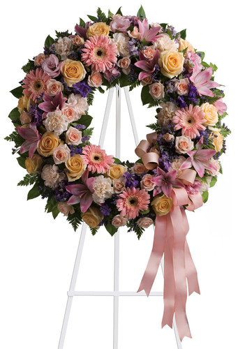 Graceful Love Peach & Pink Funeral Flower Wreath