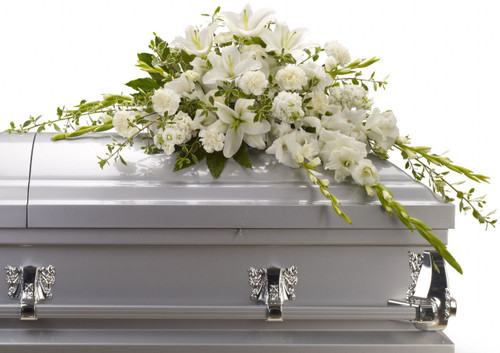 Bountiful Thoughts All White Half Casket Cover from Sympathy Flower Shop. This sympathy casket spray includes gorgeous white oriental lilies, gladioli, carnations and more create a beautiful small crescent shaped casket spray.  SKU SYM820