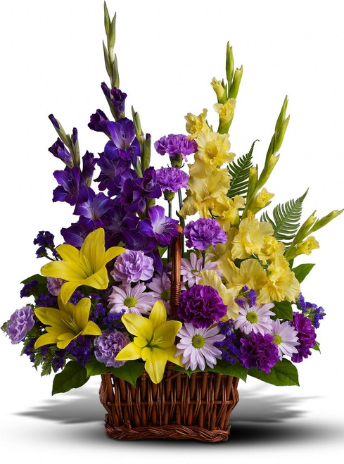 Yellow Basket of Memories by Sympathy Flower Shop. This lovely funeral arrangement includes yellow gladiolas, purple gladiolas, yellow lilies, and lavender daisies. Free delivery of Houston funeral flower orders placed online. SKU  SYM405