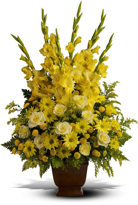 Bright Sunny Memories by Sympathy Flower Shop Houston. This beautiful yellow funeral bouquet includes all yellow flowers of gladiolas, roses, daisies, and solidago in a traditional ceramic container. Your Houston funeral florist. SKU SYM407