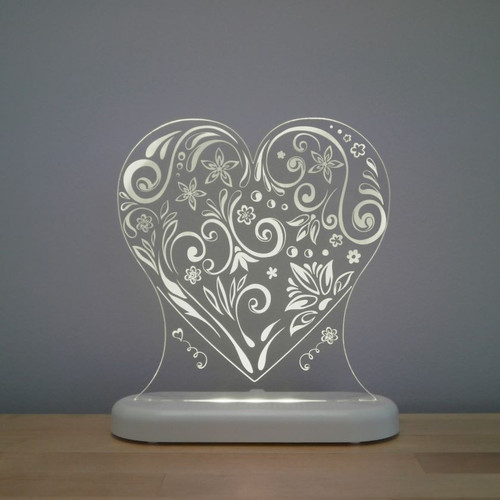 Aloka Night Light Heart Grey