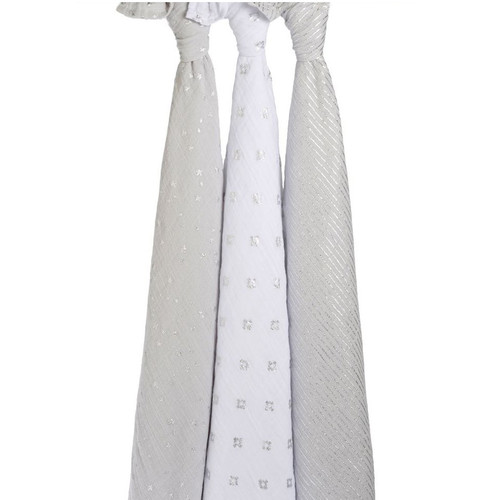 3-Pack Classic Swaddles - Metallic Charm