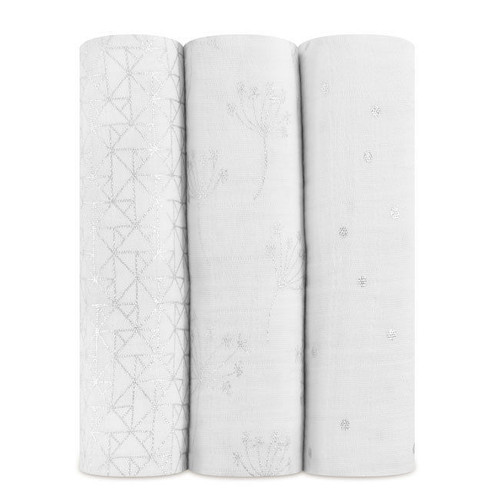 3-Pack Classic Swaddles - Metallic Silver