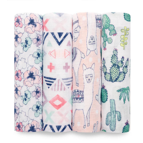 4-Pack Classic Swaddles - Trail Blooms