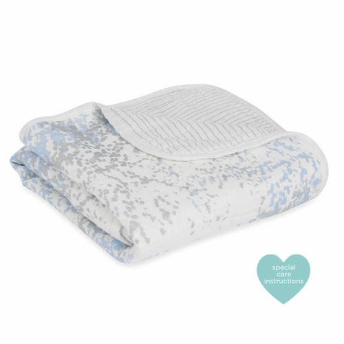 Silky Soft Stroller Blanket - Metallic Blue Moon Birch