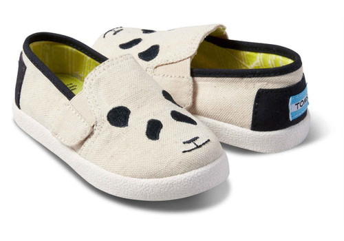 Panda Embroidered Tiny TOMS Avalon Slip-Ons