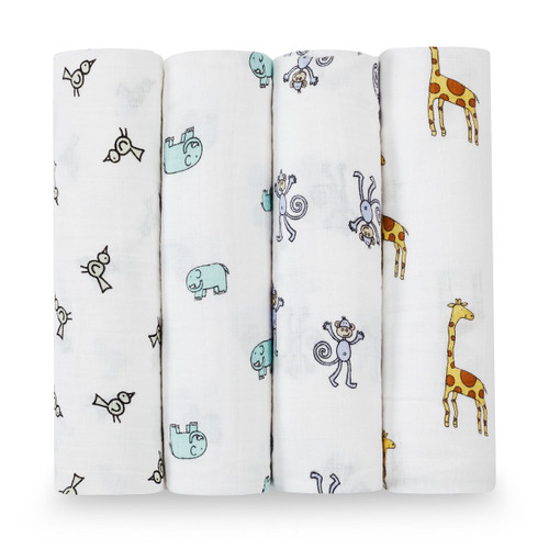 4-Pack Classic Swaddles - Jungle Jam