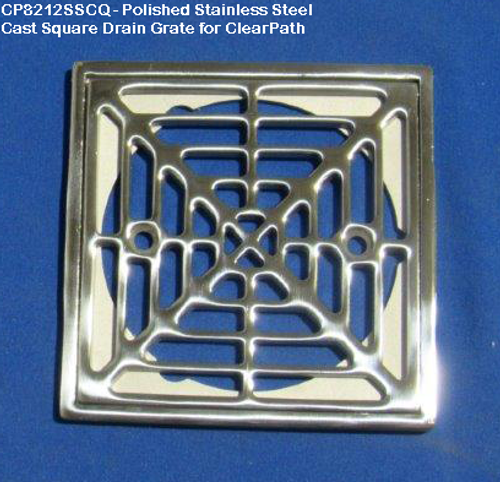 CP8212SSCQ: Stainless Steel Cast Square Drain Grate for ClearPath