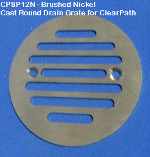 Brushed Nickel CAST Round Drain Grate - ClearPath