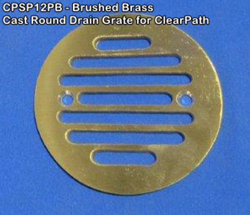 Brushed Brass CAST Round Drain Grate - ClearPath