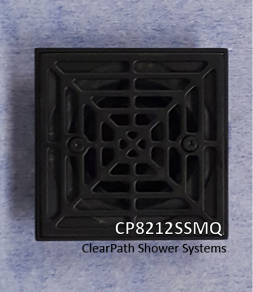 CP8212SMQ: Matte Black Cast Square Drain Grate for ClearPath