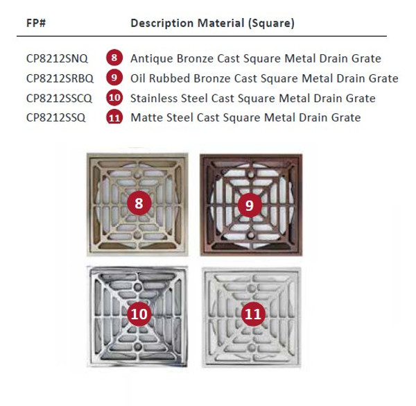 ClearPath Square Grate Options
