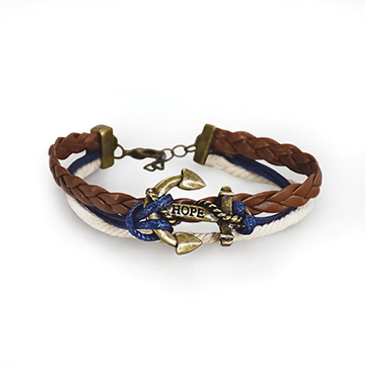 Navy Braided Anchor Bracelet
