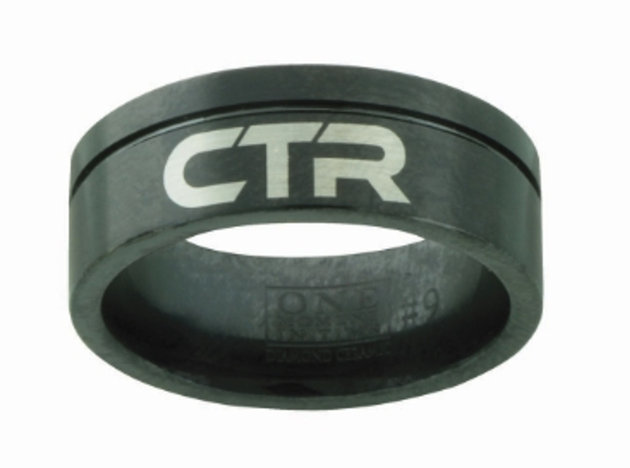 Black Jack CTR Ring (Black Diamond Ceramic W/ Silver inlay) *
