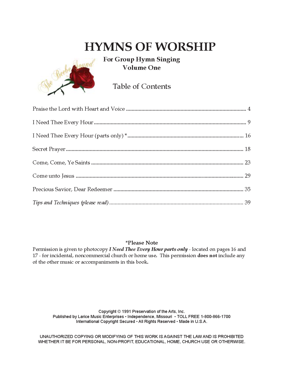HYMNS OF WORSHIP - VOLUME 1 For Group Hymn Singing (Songbook) *