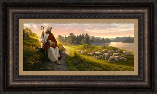 Dear to the Heart of the Shepherd 25x15 framed giclee canvas  *