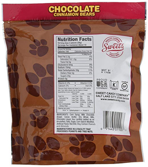 Chocolate Covered Cinnamon Bears 14 Ounce Bag by Sweets Candy Co.