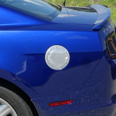 UPR 10-14 Mustang Fuel Door Polished Ring Black Door