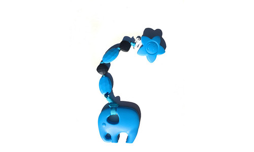 Blue elephant teething pendant clip.