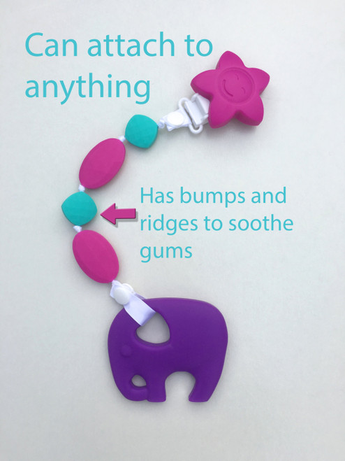 Personalized silicone teething pendant clip.