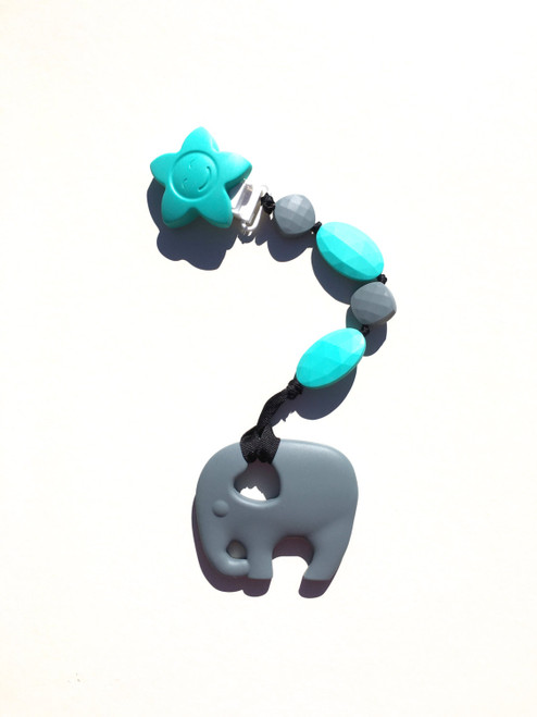 Grey Teething Elephant Pacifier Clip