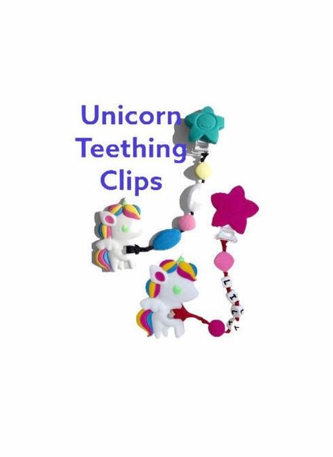 Silicone Teething Unicorns clip