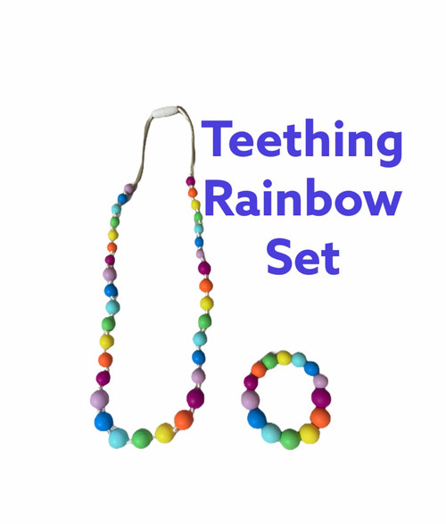 Silicone Teething Necklace Rainbow and Bracelet