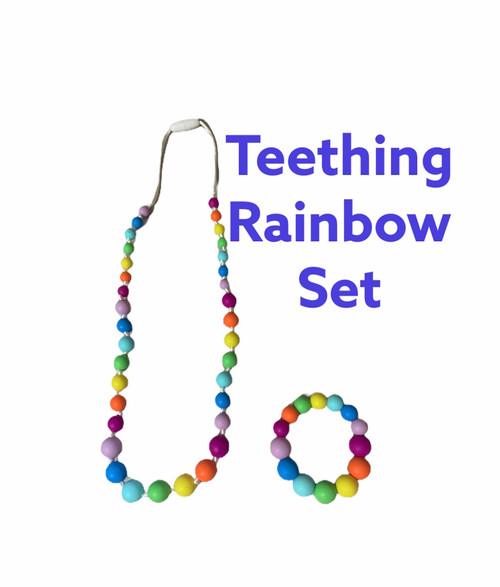 Silicone Teething Necklace Rainbow and Bracelet