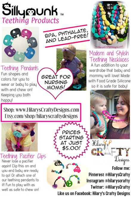Silicone teething necklace. Great for moms to wear and babies to chew.