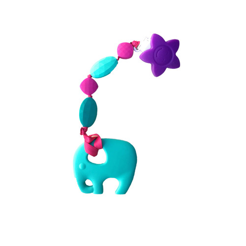 Teal Elephant Teething Pacifier Clip