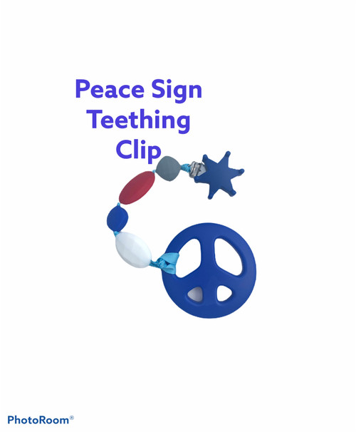 Peace Sign teething clips