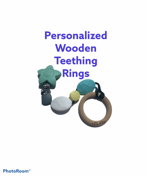 Wooden Ring  Baby Teething clips