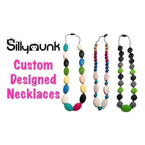 Custom designed silicone teething necklace. For moms to wear and babies to chew.