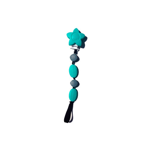 Teal and Grey Teething Pacifier Clip